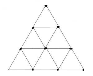 Degtukai - piramidė ir penki trikampiai