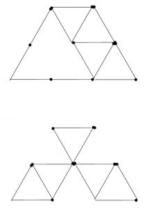 Degtukai - piramidė ir penki trikampiai - atsakymas